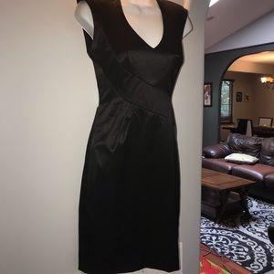 Black halo satin sheath lace back dress blk size 4
